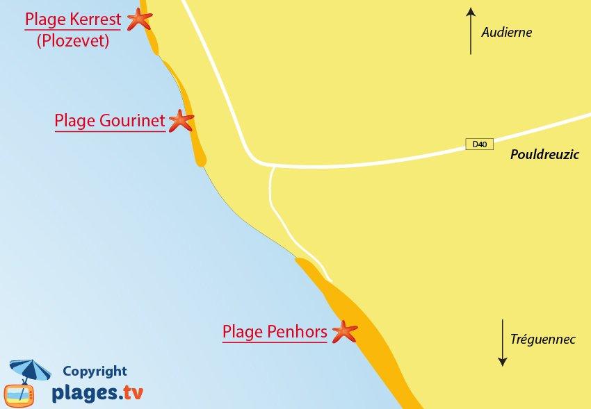 Plan de la plage de Pouldreuzic en Bretagne