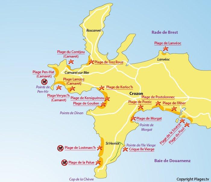 carte presqu île de crozon La presqu'île de Crozon