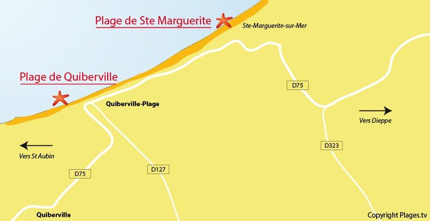 Plan des plages de Quiberville (76)