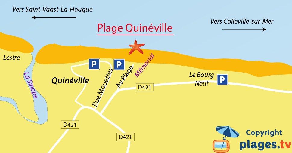 Plan des plages de Quinéville dans la Manche