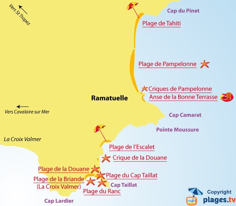 Carte des plages de Ramatuelle