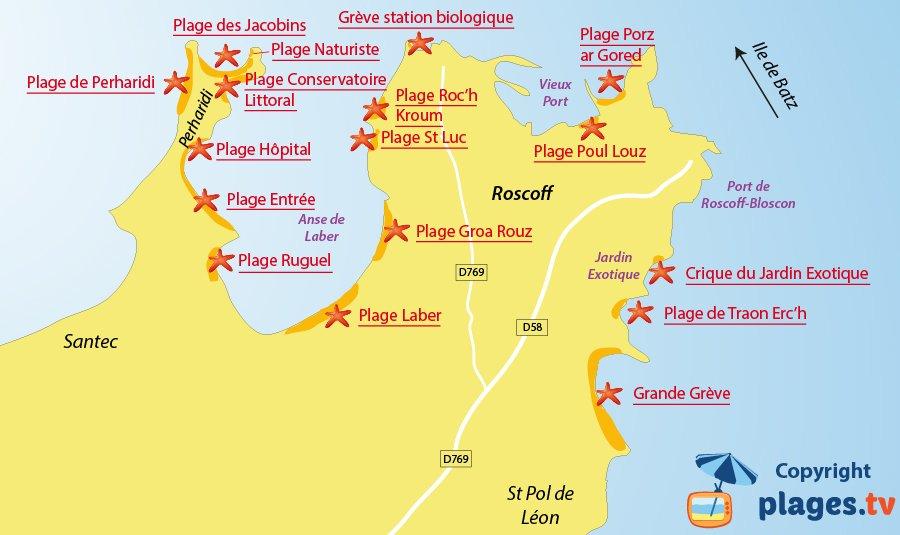 Plan des plages de Roscoff en Bretagne