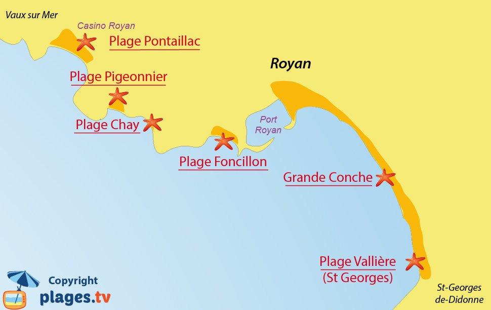 Plan des plages de Royan en Charente Maritime