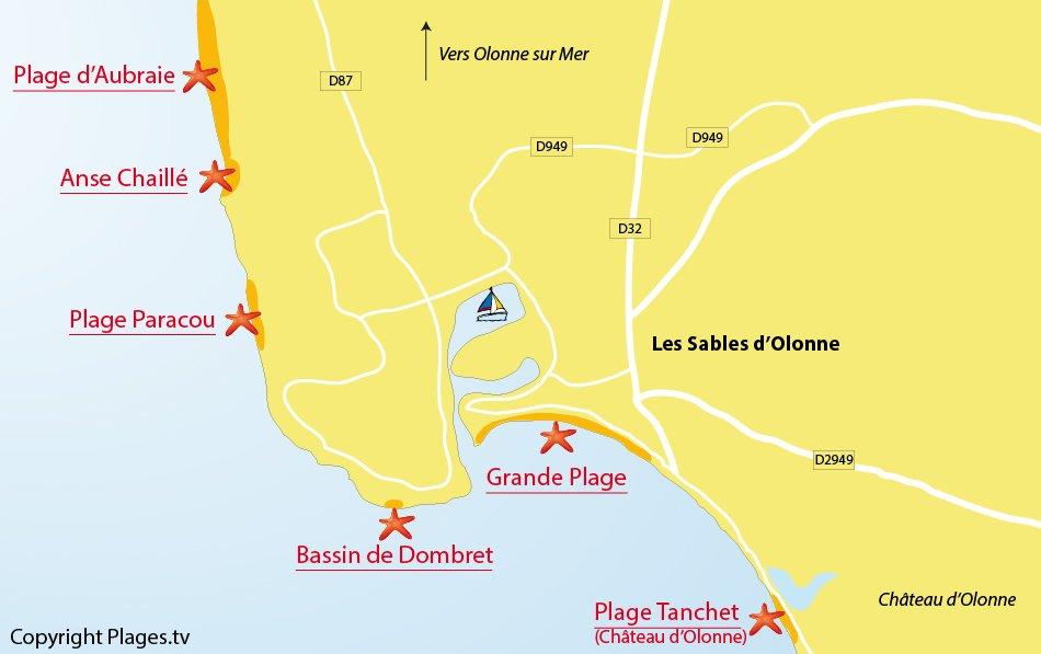 Plan des plages des Sables d'Olonne