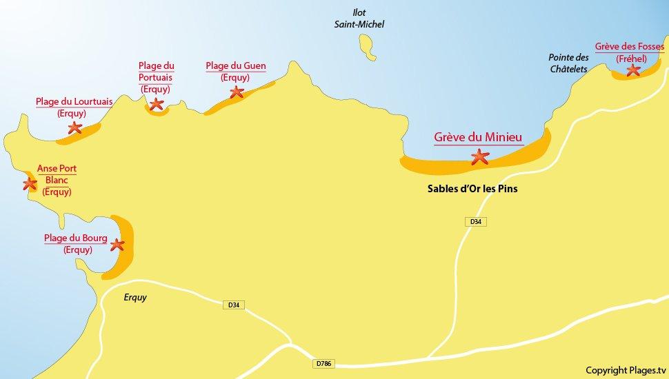 Plan des plages des Sables d'Or les Pins