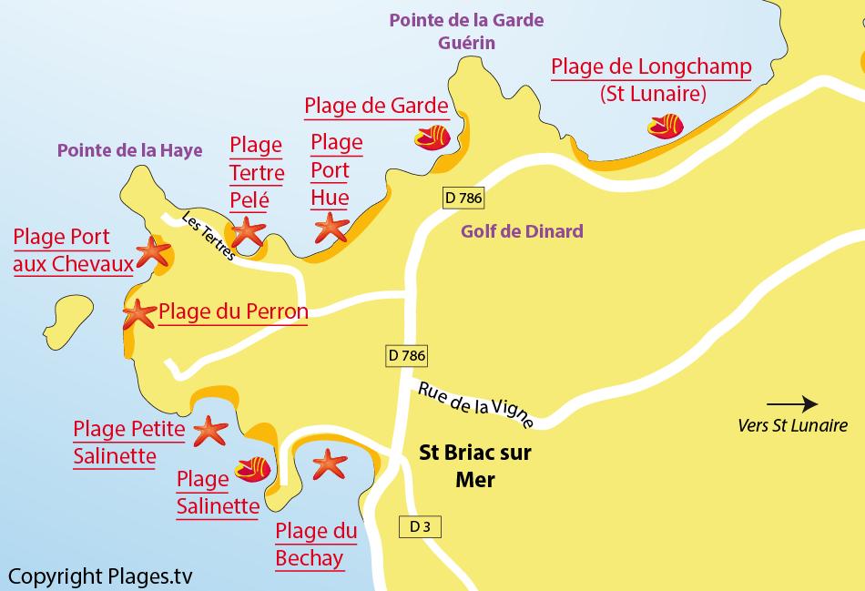 Plan des plages de Saint Briac sur Mer