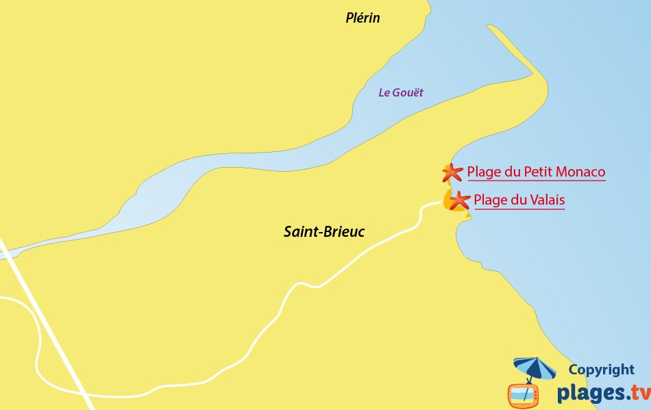 Plan des plages de Saint Brieuc