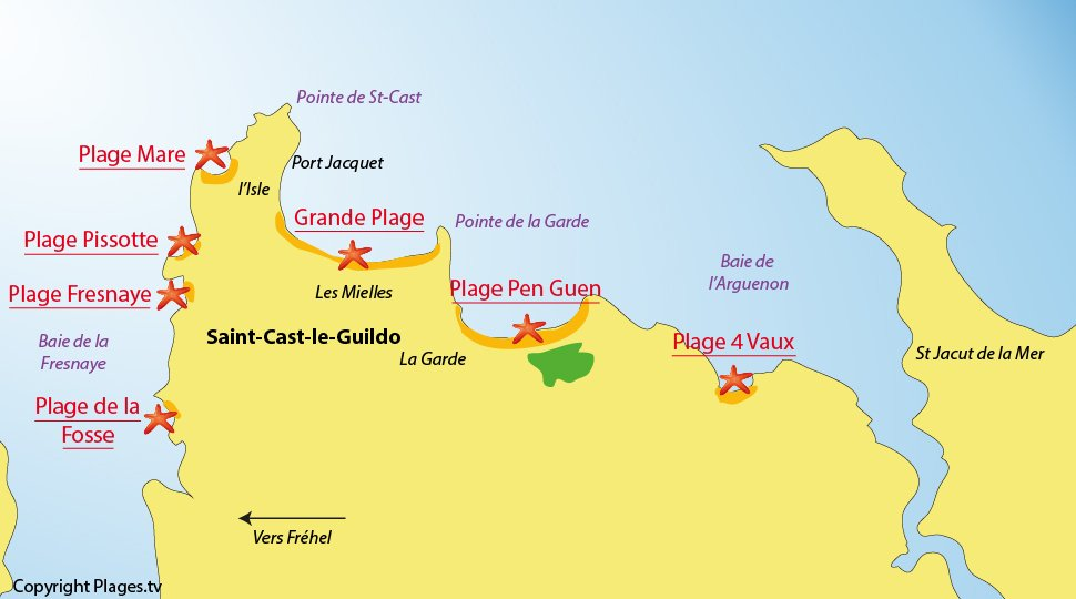 Plan des plages de Saint Cast le Guildo - Bretagne