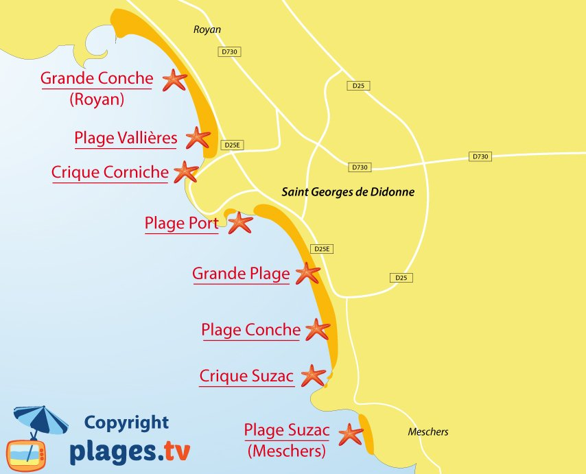 Plan des plages de Saint Georges de Didonne