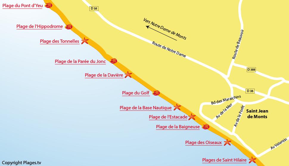 Plan des plages de Saint Jean de Monts en Vendée
