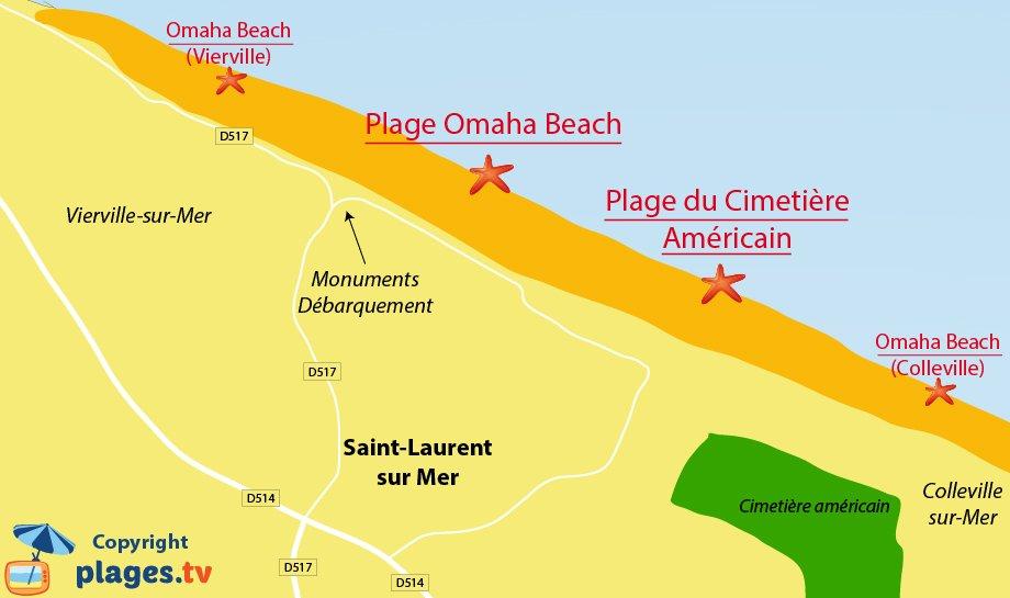 Plage des plages de St Laurent sur Mer - Omeha Beach - Normandie