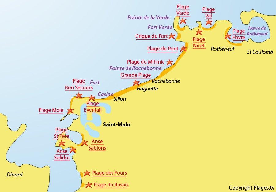 Plan des plages de St Malo