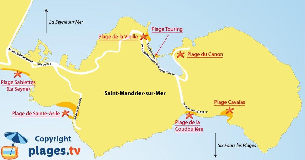 Carte des plages de St Mandrier sur Mer dans le Var