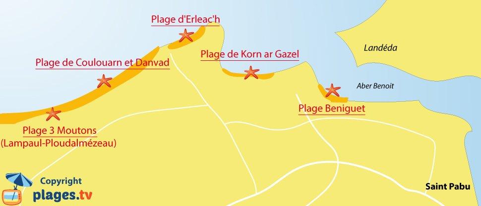 Plan des plages de Saint Pabu en Bretagne