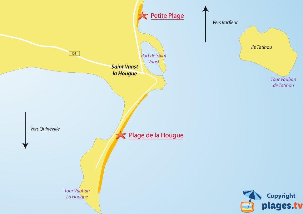 Plan des plages de Saint Vaast la Hougue - Manche