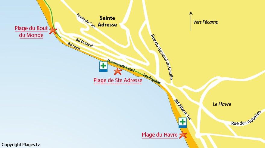 Plan des plages de Sainte Adresse (76)