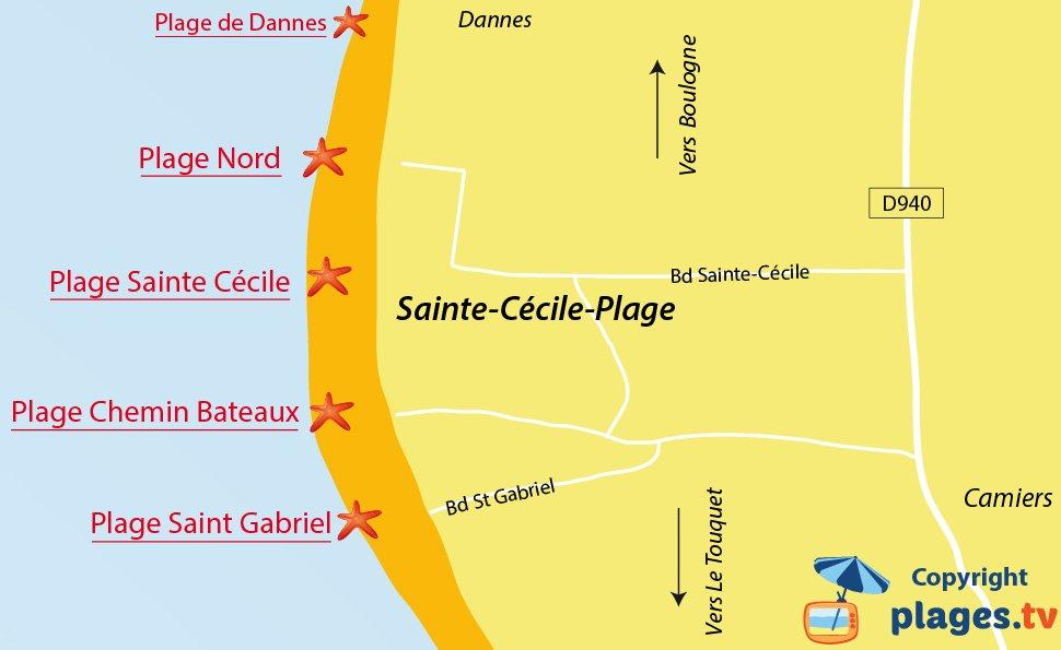 Plan des plages de Sainte Cécile dans le Nord
