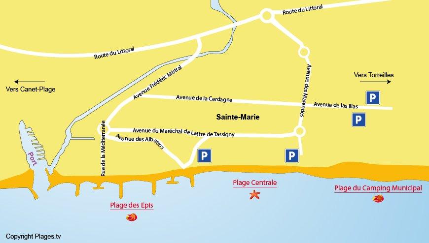 Carte des plages à Sainte Marie 66