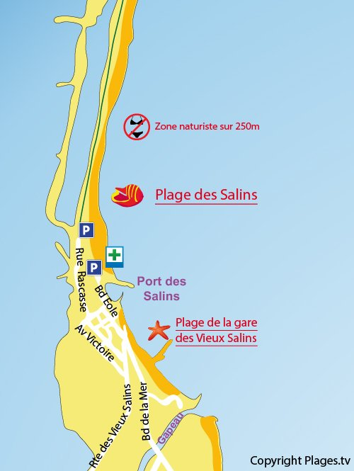 Map of Salins beach in Hyères in France