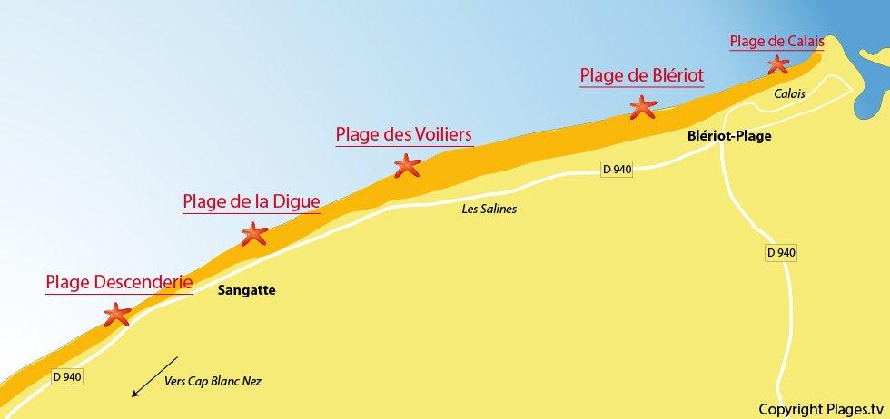Plan des plages de Sangatte et de Blériot-Plage