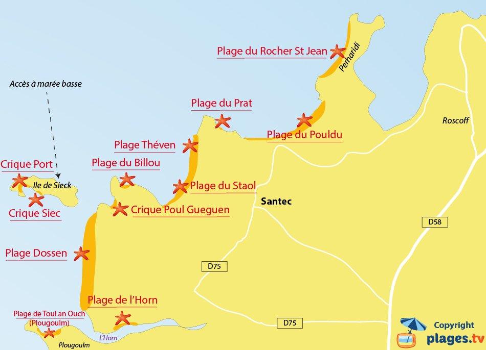 Plan des plages de Santec en Bretagne