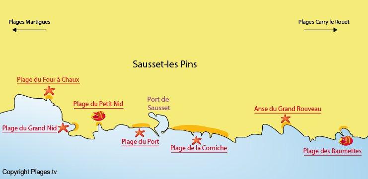 Plan des plages de Sausset les Pins