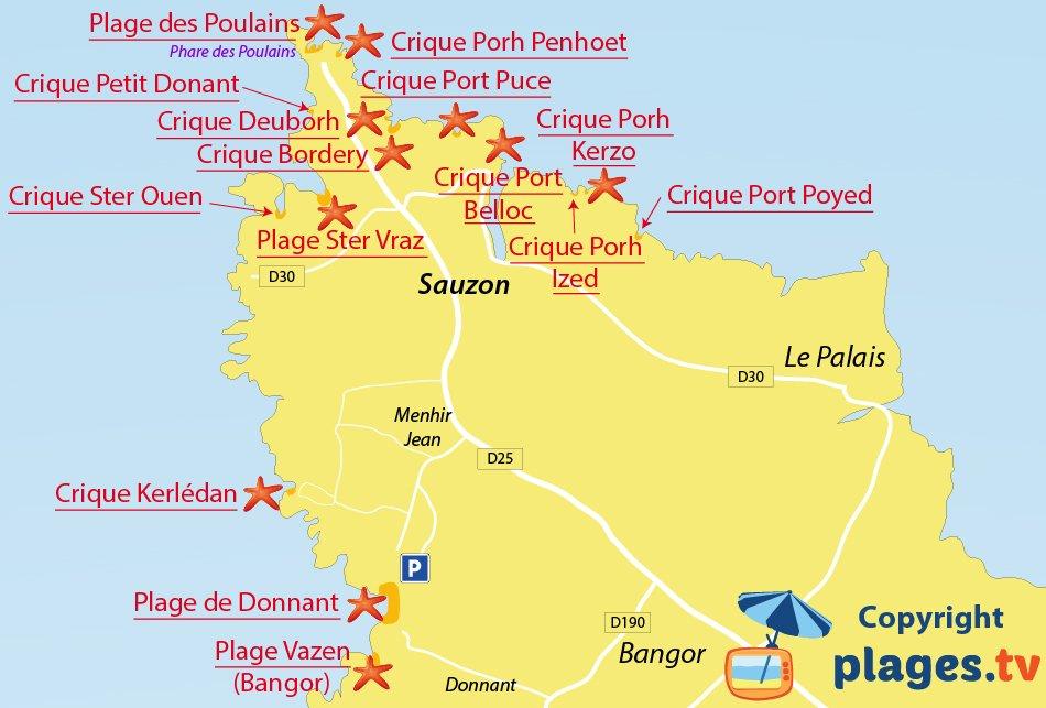 Plan des plages de Sauzon à Belle Ile en Mer