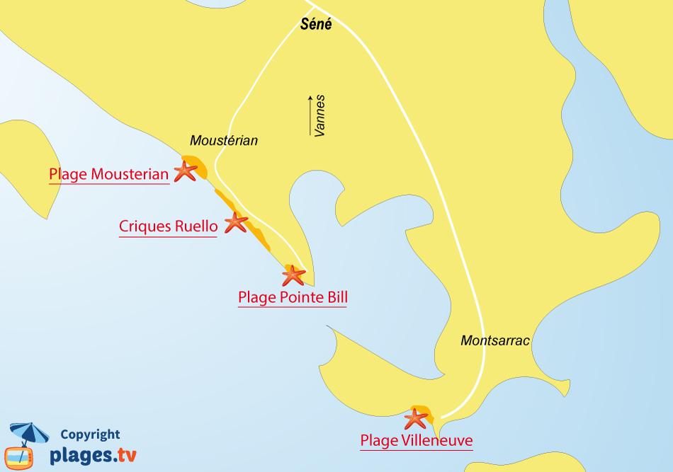 Plan des plages de Séné dans le golfe du Morbihan