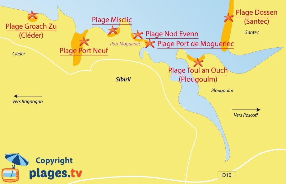 Plan des plages de Sibiril en Bretagne