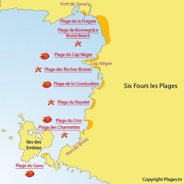 Carte des plages à Six Fours les Plages dans le Var