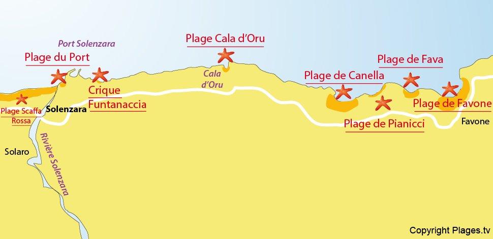 Plan des plages de Solenzara - Corse