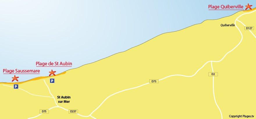 Plan des plages de St Aubin sur Mer 76