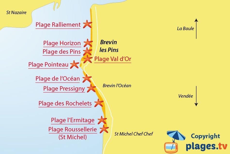 Plan des plages de St Brevin les Pins