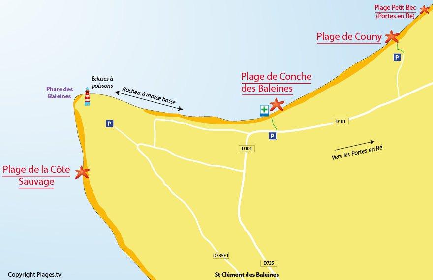 Plan des plages de St Clément des Baleines - Ile de Ré