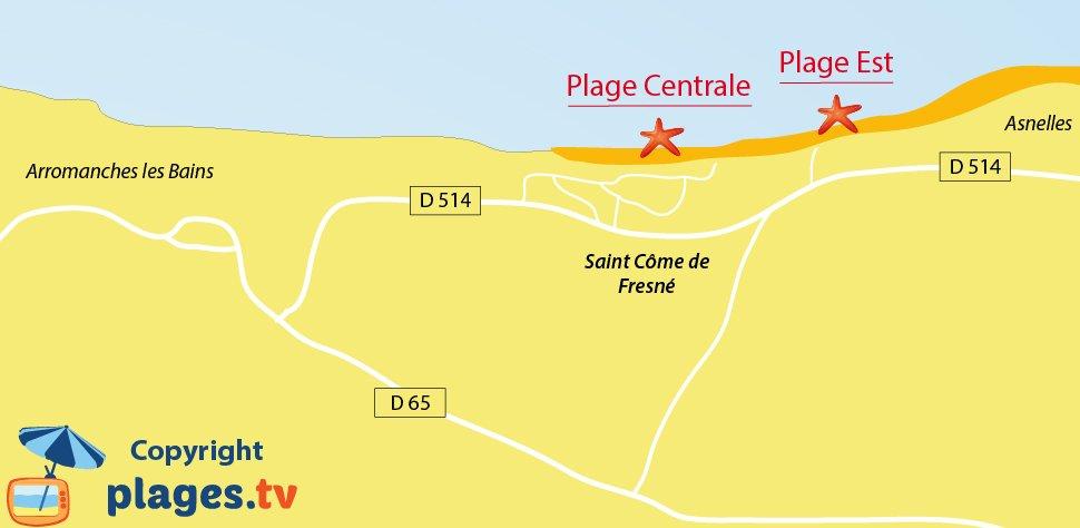 Plan des plages de Saint Côme de Fresné dans le Calvados