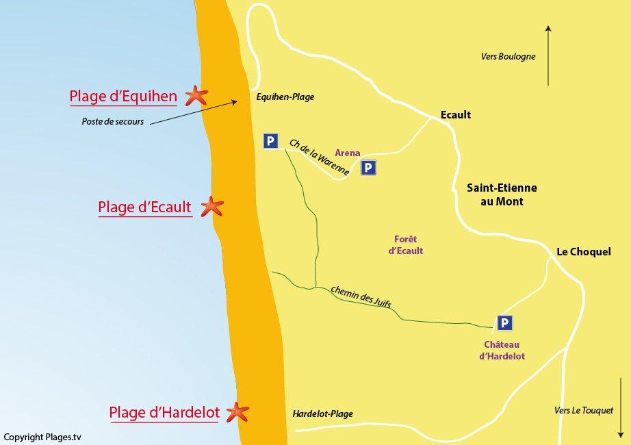 Plan des plages de Saint Etienne au Mont - Nord - Ecault