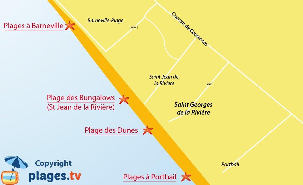 Plan des plages de Saint Georges de la Rivière dans la Manche