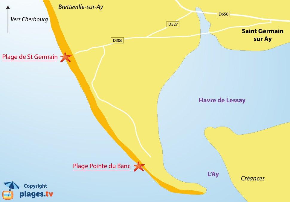 Plan des plages de Saint Germain sur Ay dans la manche