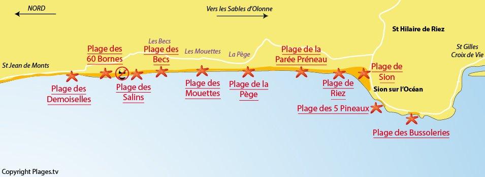 Plan des plages de Saint Hilaire de Riez en Vendée