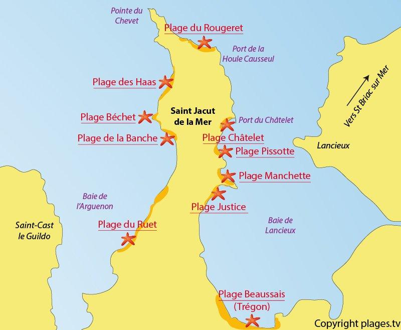 Plan des plages de St Jacut de la Mer - Bretagne