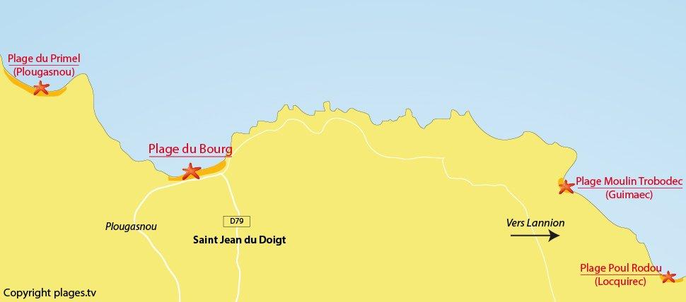 Plan des plages de St Jean du Doigt