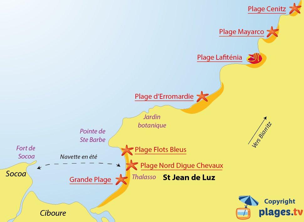 Plan des plages de St Jean de Luz - 64