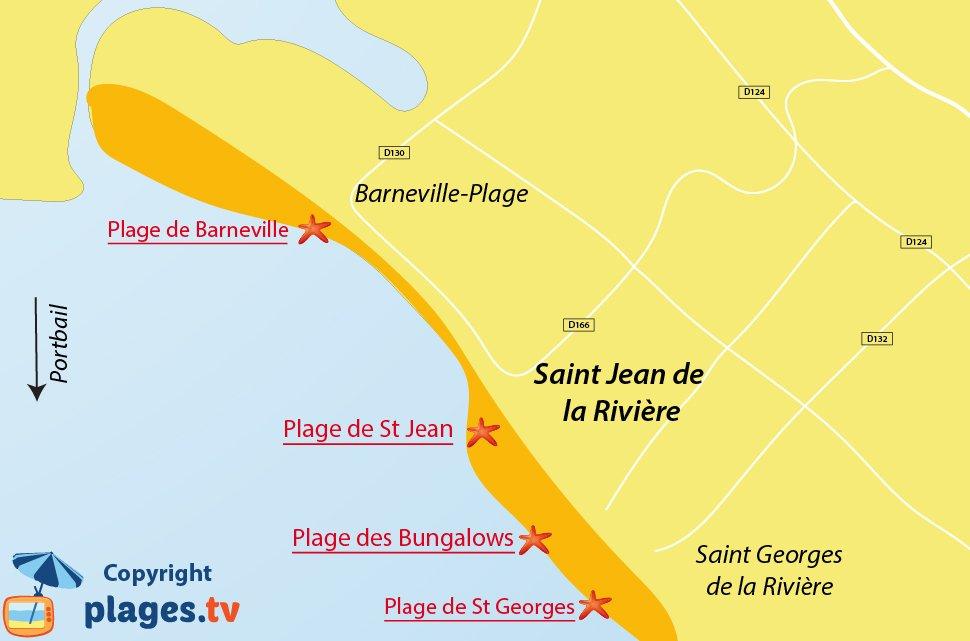 Plan des plages de St Jean de la Rivière dans la Manche