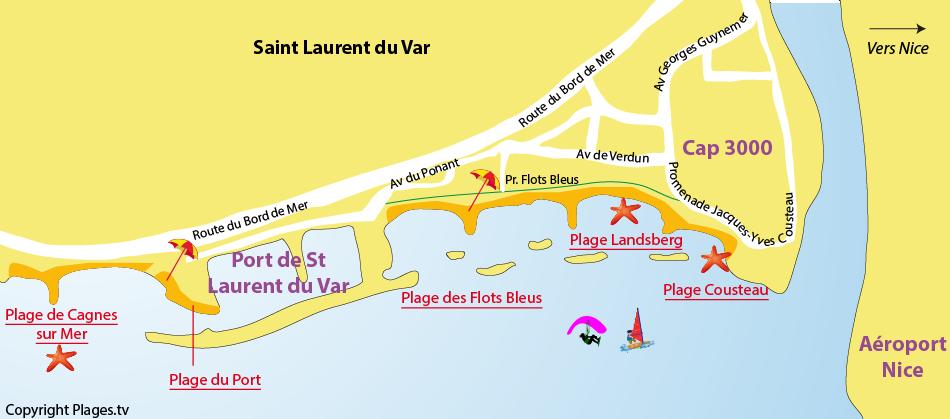 Plan des plages de Saint Laurent du Var