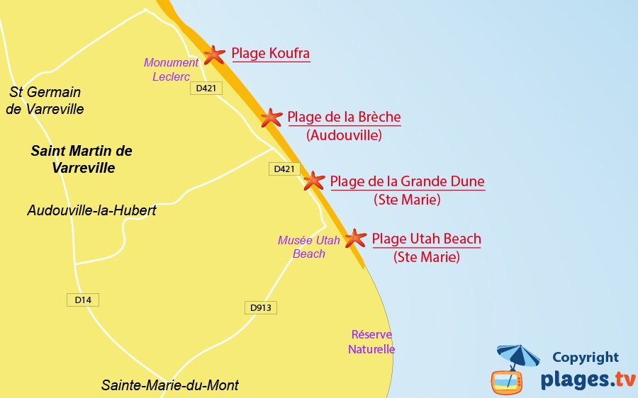 Plan des plages de St Martin de Varreville en Normandie