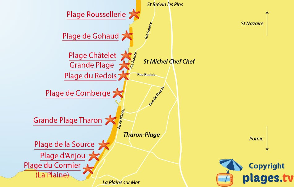 Plan des plages de Saint Michel Chef Chef et Tharon-Plage - 44