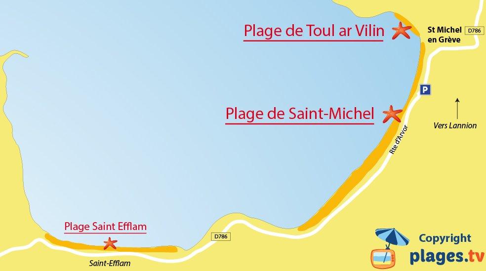Plan des plages de Saint Michel en Grève en Bretagne