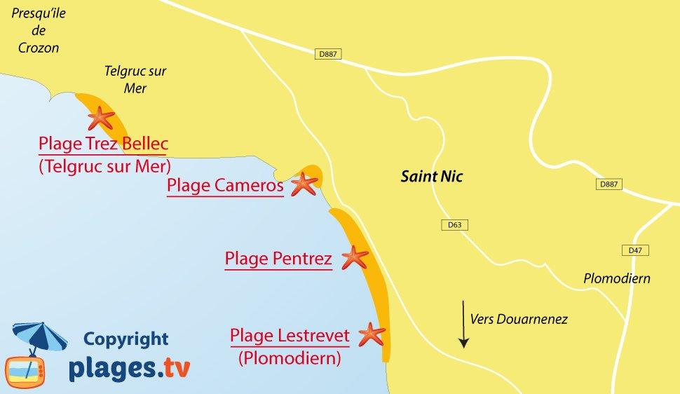 Plan des plages de Saint Nic en Bretagne