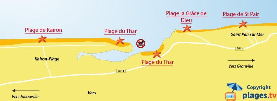 Plan des plages de Saint Pair sur Mer dans la Manche