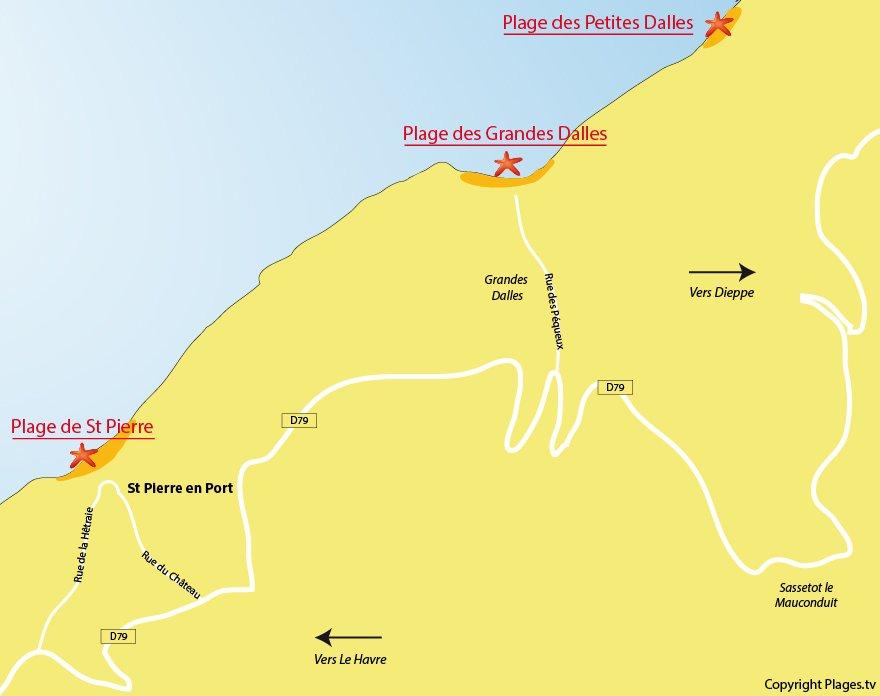 Plan des plages de St Pierre en Port - Normandie